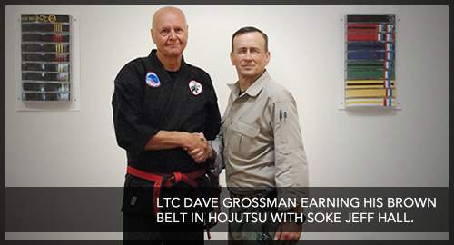 LTC David Grossman earning his brown belt in Hojutsu with Soke Jeff Hall